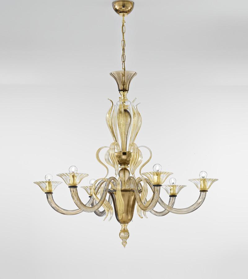 Lampadario in Vetro di Murano a 6 luci -> Lampadari Moderni Color Rame
