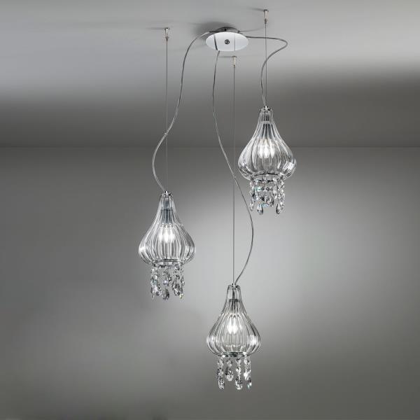 Lampadari In Vetro Soffiato.Lampadario In Vetro Soffiato 3 Luci Clivia Con Cristalli Antealuce