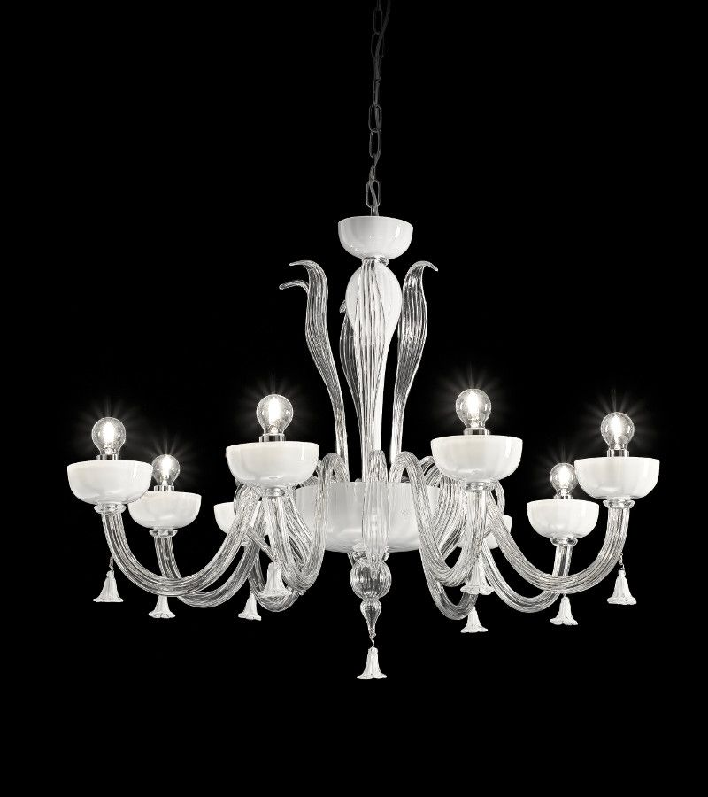 Lampadari Di Murano Bianchi.Lampadario In Vetro Di Murano 8 Luci Bianco
