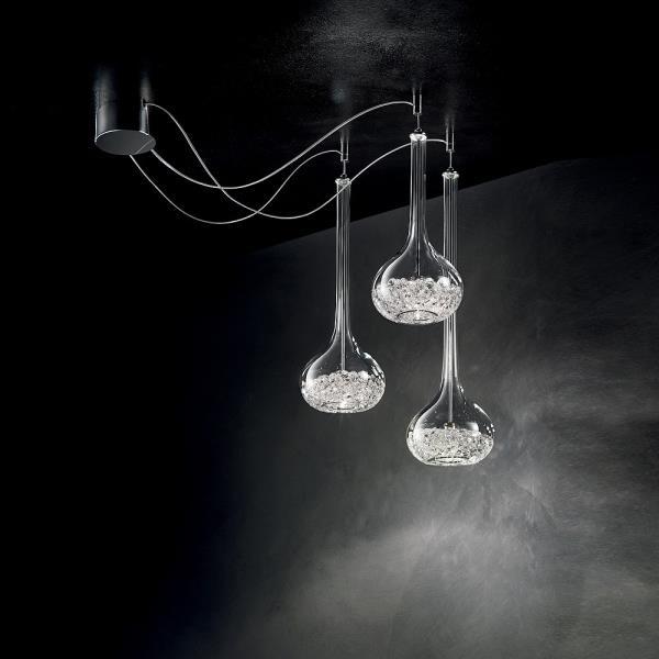 Lampadario moderno con cristalli graal sil lux for Lampadari per vani scale