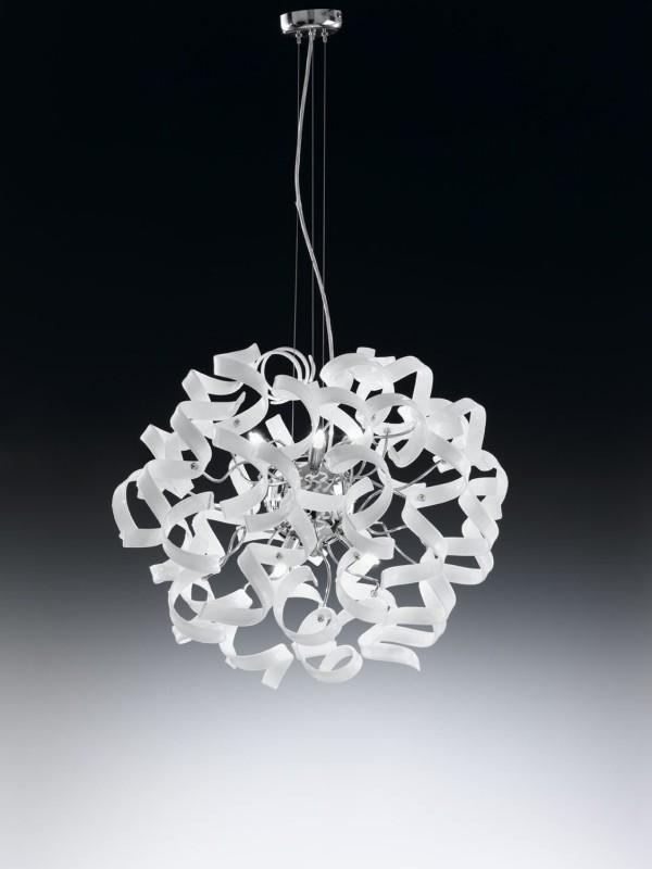 Lampadario con ricci in vetro ASTRO bianco Metal Lux -> Lampadario Cameretta In Vetro