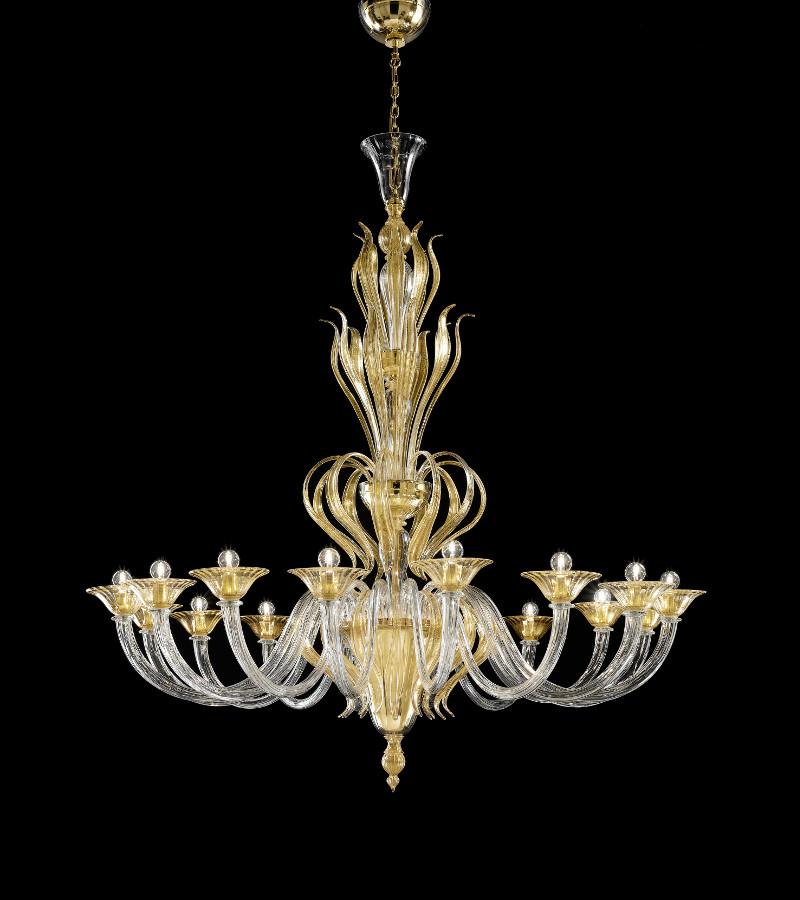 Lampadario in vetro di murano a 16 luci - Lampadario classico camera da letto ...