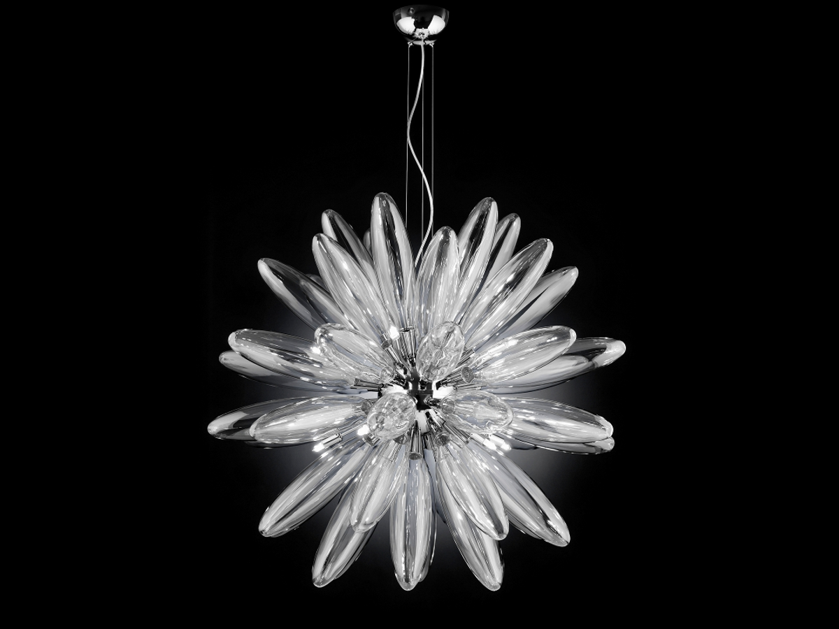 metal lux lampadari : Lampadario Flo Metal lux in vetro trasparente