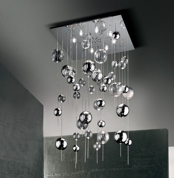 Plafoniera moderna niagara plafoniera con bolle in vetro for Plafoniera moderna