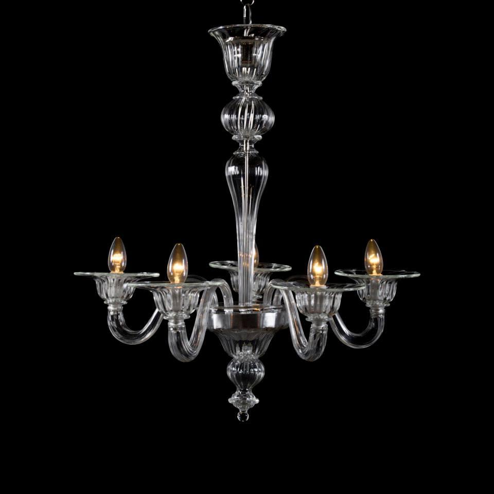 Lampadario in vetro di murano a 5 luci trasparente for Barovier e toso catalogo vasi