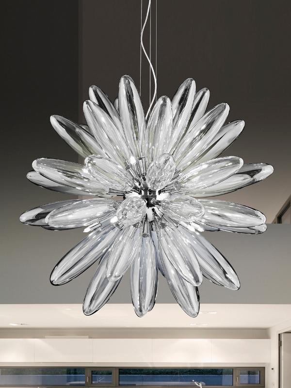 Lampadario Flo Metal lux in vetro trasparente
