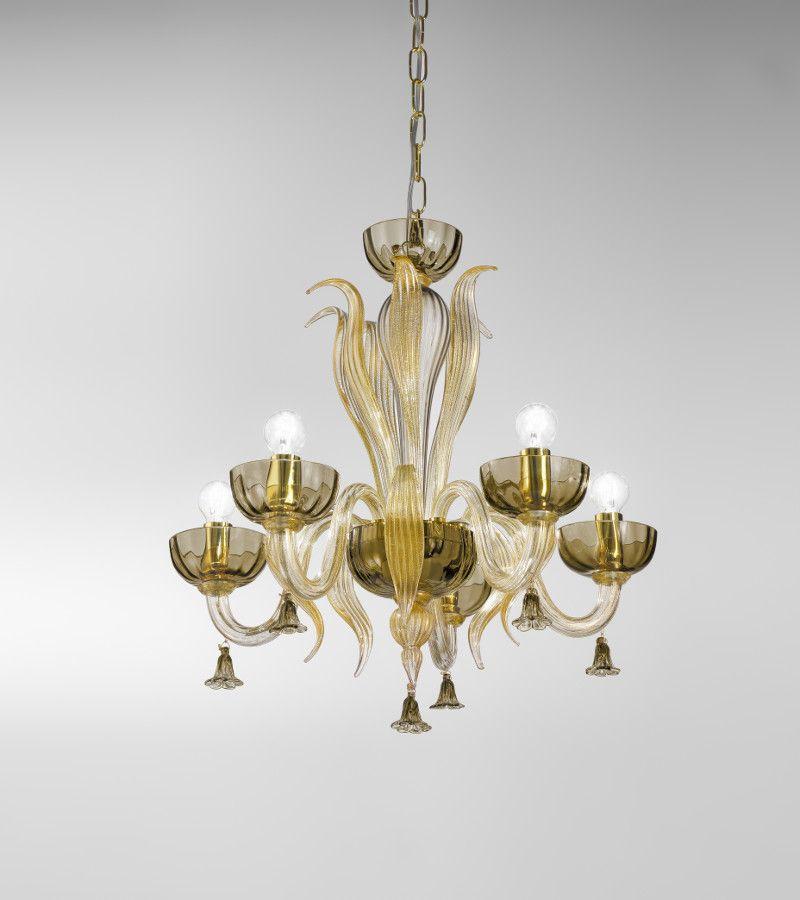 Lampadario in vetro di murano sylcom a 5 luci fum e oro for Lampadari d arredo