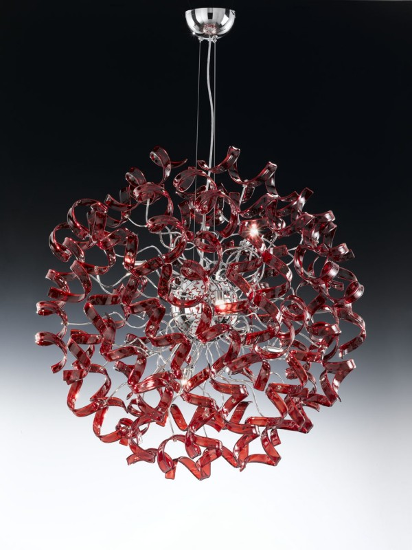 Lampadario con ricci in vetro ASTRO rosso Metal Lux -> Lampadari Classici Via Veneto