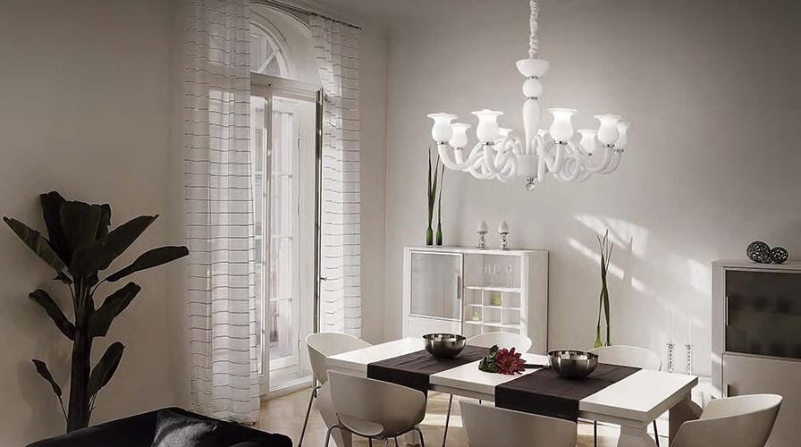 in quali stanze usare lampadario vetro di murano